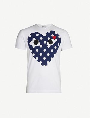 a7dc8300 COMME DES GARCONS PLAY - Heart logo cotton-jersey T-shirt ...
