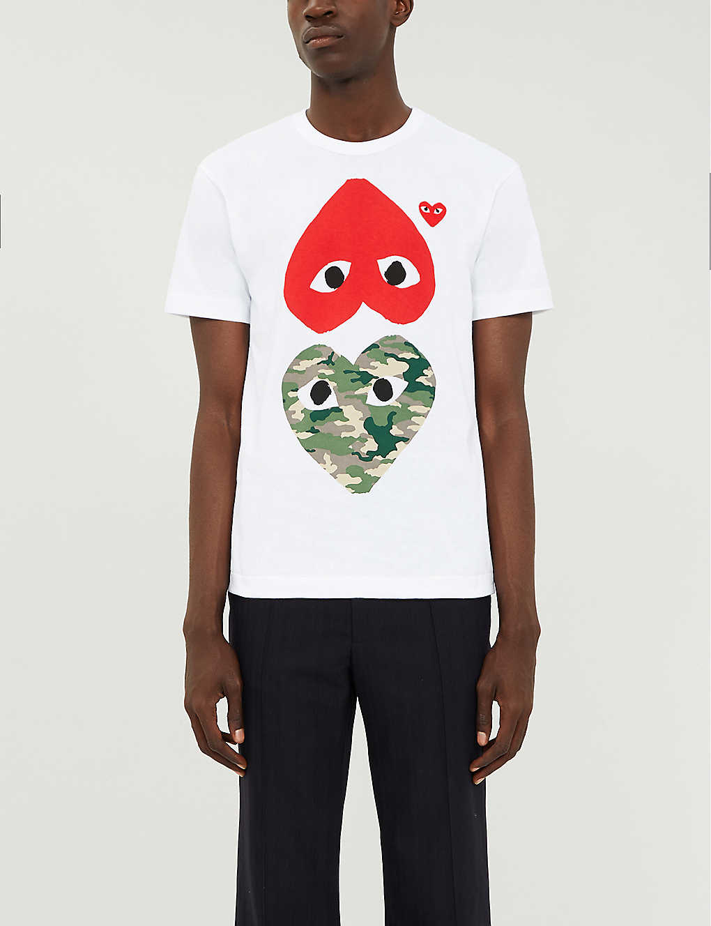 COMME DES GARCONS PLAY: Heart-print cotton-jersey T-shirt