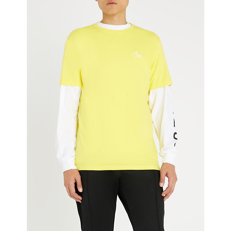 ASSID Logo-Print Cotton-Jersey T-Shirt in Yellow