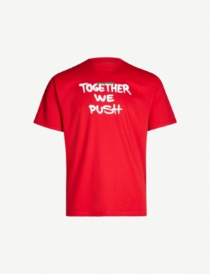 GREATNESS Together We Push slogan-print cotton-jersey T-shirt