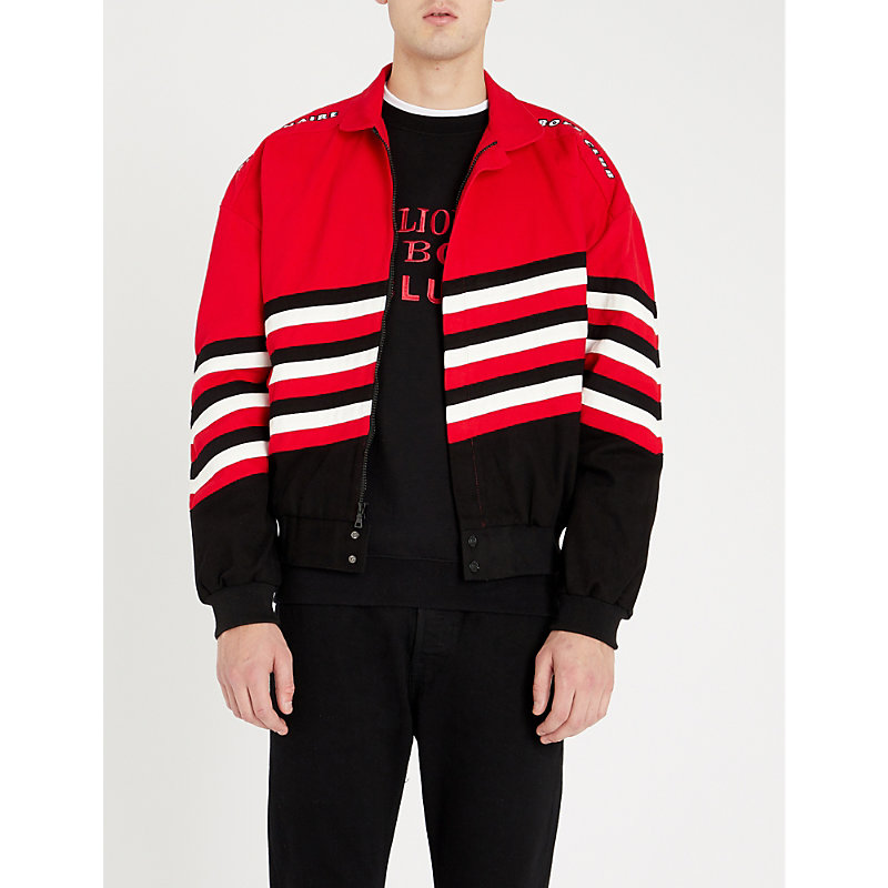 BILLIONAIRE BOYS CLUB Racing Team Striped Twill Jacket in Red