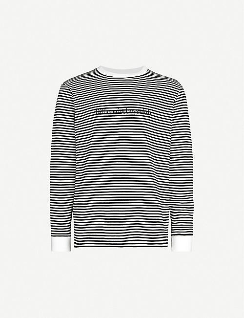 BILLIONAIRE BOYS CLUB Striped logo-embroidered cotton-jersey top