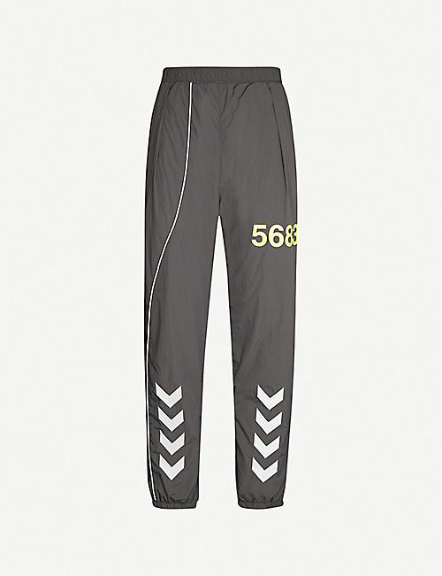 HUMMEL Tapered graphic-print shell jogging bottoms