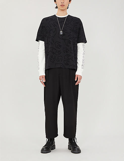 MCQ ALEXANDER MCQUEEN Swallow-pattern crewneck cotton-jersey T-shirt