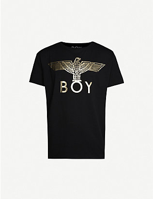 BOY LONDON: Metallic logo-print cotton-jersey T-shirt