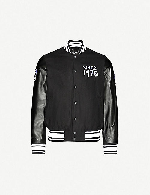 BOY LONDON: Logo-print wool-blend and faux-leather varsity jacket