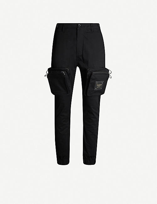 BOY LONDON Patch-pocket slim-fit tapered stretch-cotton trousers