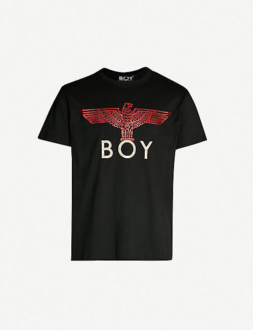BOY LONDON Glittered logo-print cotton-jersey T-shirt
