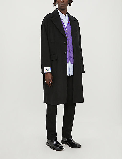 FIVECM Detachable-gilet peak-lapels woven coat