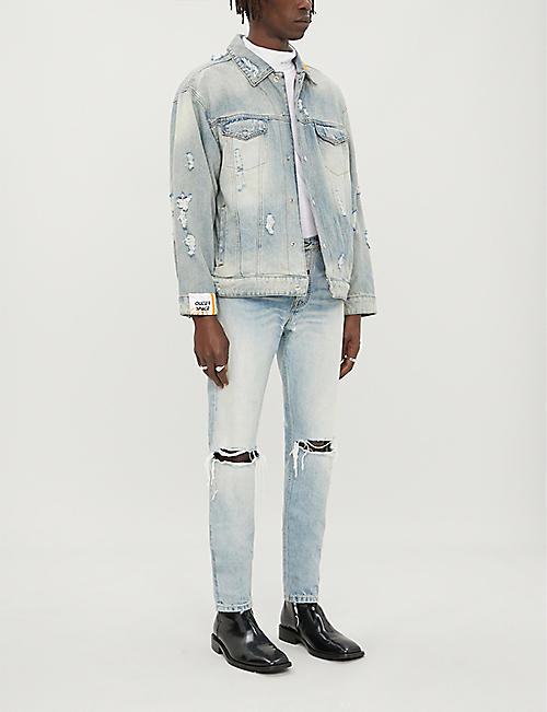 FIVECM Faded ripped regular-fit denim jacket