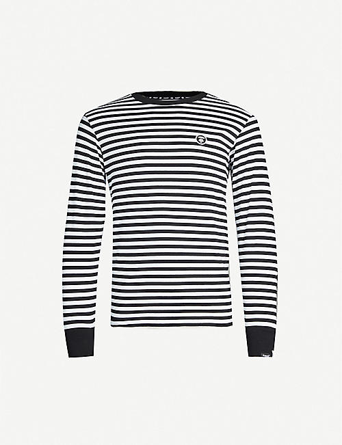 AAPE Logo-embroidered striped cotton top