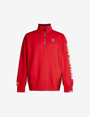 AAPE Funnel-neck logo-patch cotton-blend jersey sweatshirt