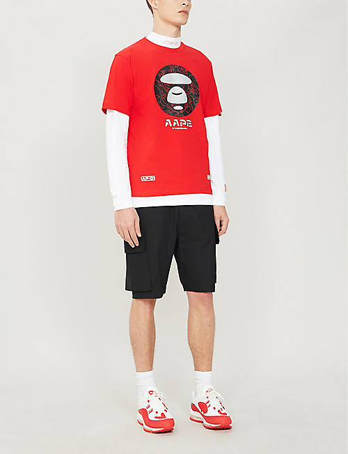 AAPE Logo and graphic-print cotton T-shirt