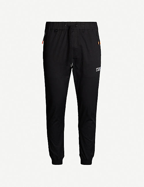 FINGERCROXX Brand-embroidery relaxed-fit cotton-blend jogging bottoms