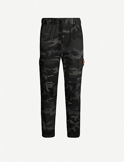 FINGERCROXX Camouflage tapered-leg stretch-cotton trousers