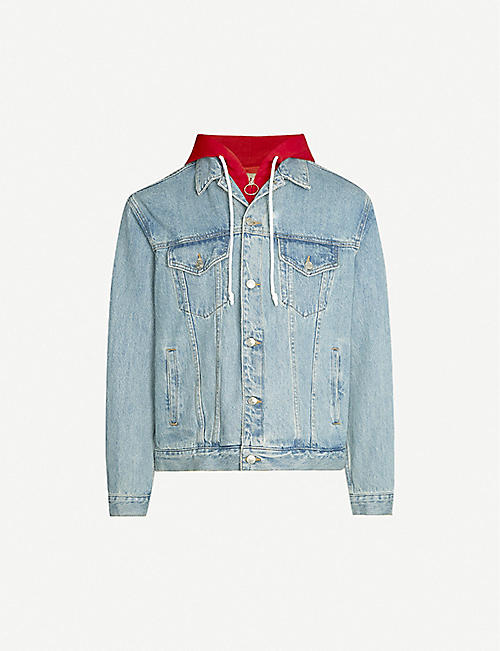 IZZUE Hoody-underlay stretch-denim jacket