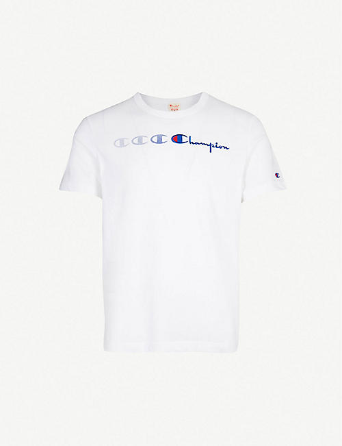 886593e66bd9 CHAMPION Logo-embroidered cotton-jersey T-shirt