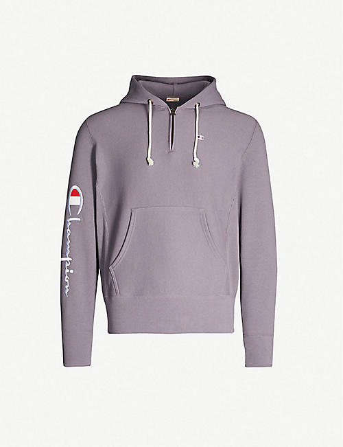 8866770af21 CHAMPION Logo-embroidered cotton-jersey hoody