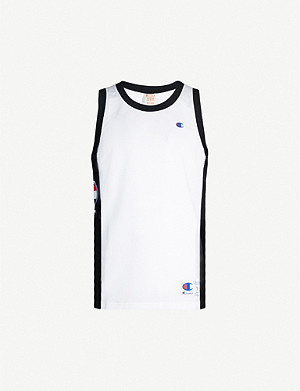 CHAMPION Logo-embroidered mesh tank top
