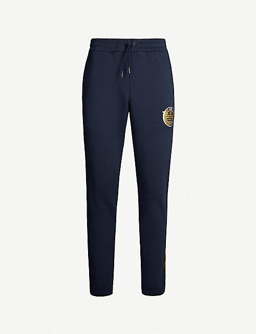 EA7 ARMANI Logo-print cotton-blend jogging bottoms