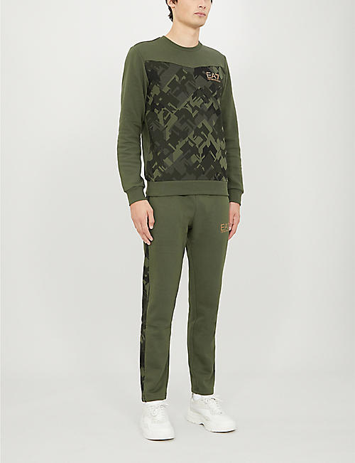 EA7 ARMANI Camouflage-print cotton-blend jersey jogging bottoms
