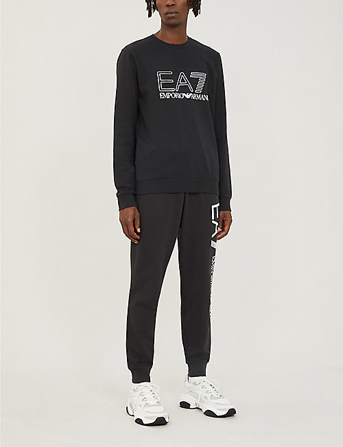 EA7 ARMANI Logo-print tapered cotton-jersey jogging bottoms