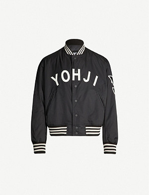 Y3 Logo-appliquéd shell bomber jacket