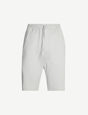 Y3 Drawstring-waist cotton-jersey shorts