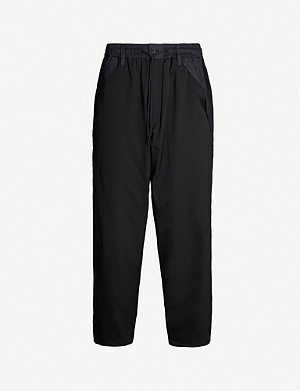 Y3 Regular-fit tapered wool-blend and satin trousers