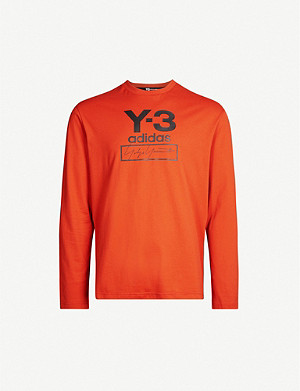 Y3 Logo-print long-sleeved cotton-jersey top