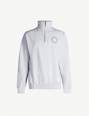 MKI MIYUKI-ZOKU Logo-print zip-up cotton-blend sweatshirt