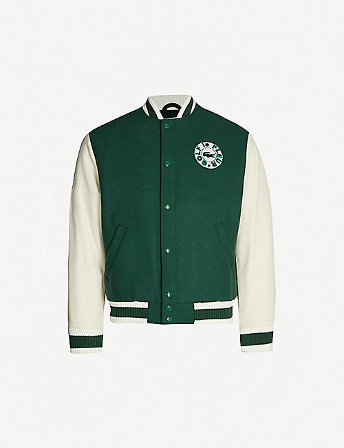 LACOSTE Lacoste x GOLF le FLEUR* wool-blend and leather bomber jacket