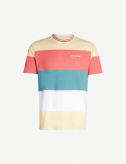 AIME LEON DORE Striped cotton-jersey T-shirt