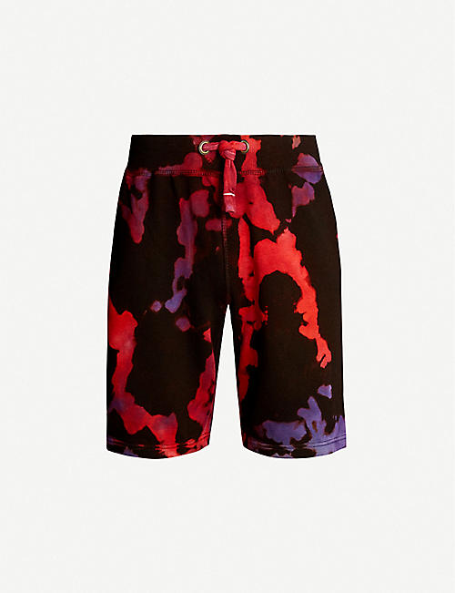 STAIN SHADE Tie-dye cotton-jersey shorts
