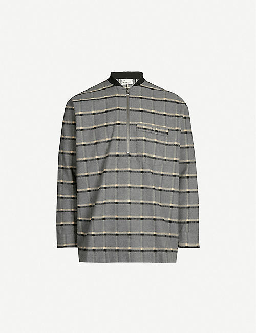DROLE DE MONSIEUR Check pattern brushed cotton polo shirt
