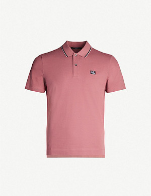 CP COMPANY Stripe-trimmed stretch-cotton polo shirt
