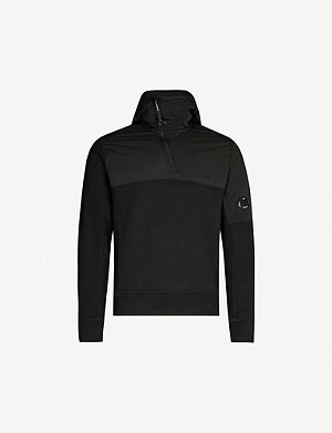 CP COMPANY Funnel-neck jersey and shell hooded sweatshirt