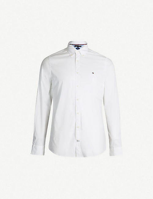 TOMMY HILFIGER Logo-embroidered slim-fit stretch-cotton shirt