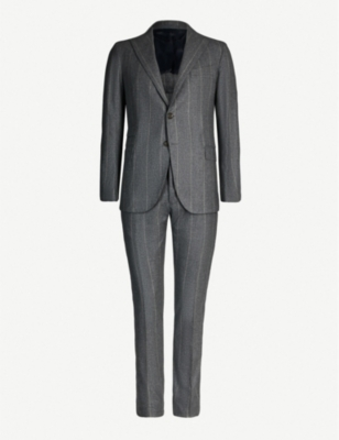 ELEVENTY Pinstriped slim-fit wool, silk and cashmere-blend suit
