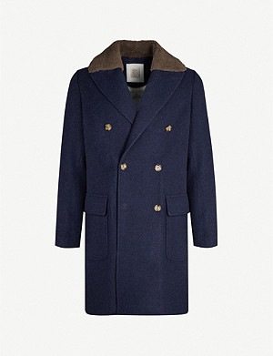 ELEVENTY Double-breasted cashmere and shearling coat