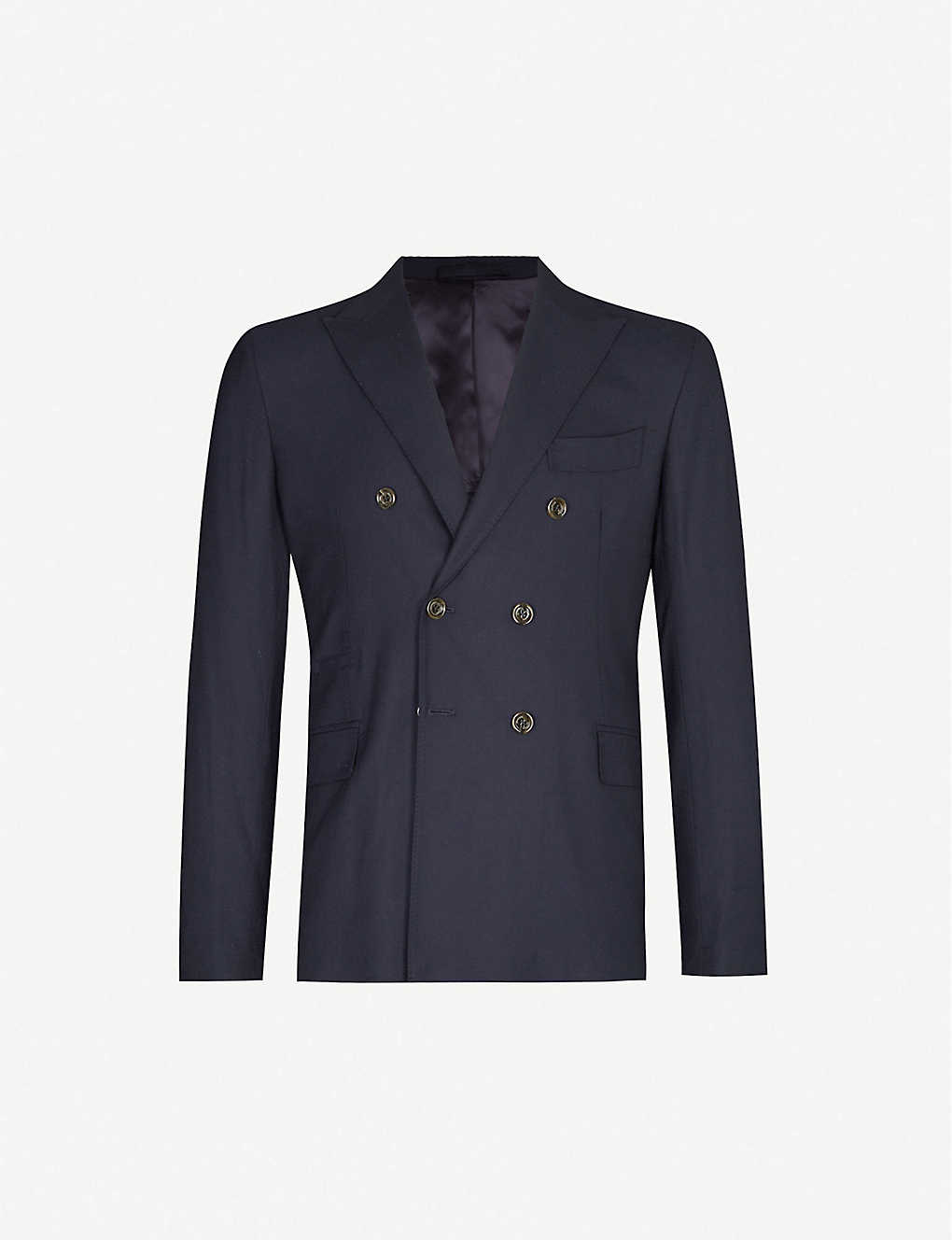 ELEVENTY: Double-breasted regular-fit wool blazer