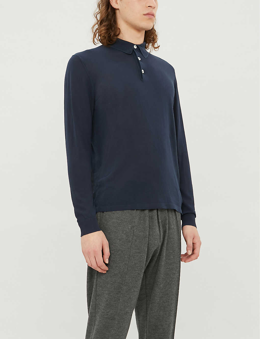 ELEVENTY: Long-sleeved cotton-knit polo top