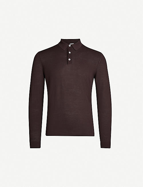 ELEVENTY Long-sleeved cotton-knit polo top