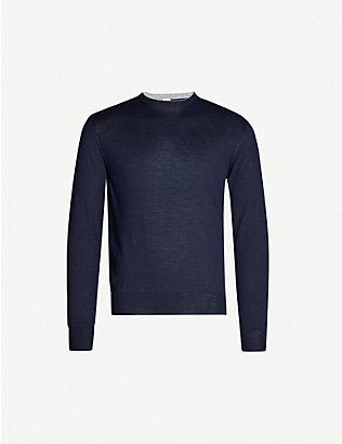 ELEVENTY: Contrast-trim wool and silk-blend jumper