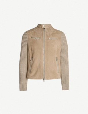 ELEVENTY Wool and cashmere-blend and suede jacket