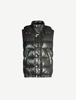 ELEVENTY Panelled quilted shell-down hooded gilet