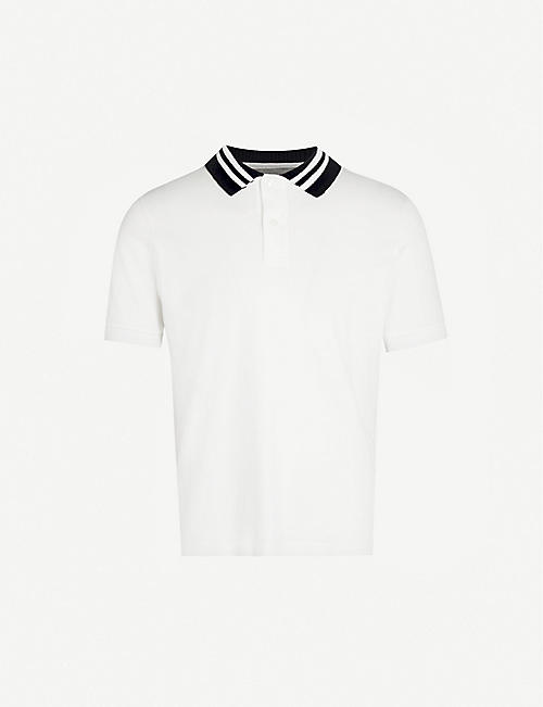ELEVENTY Striped collar cotton-jersey polo shirt
