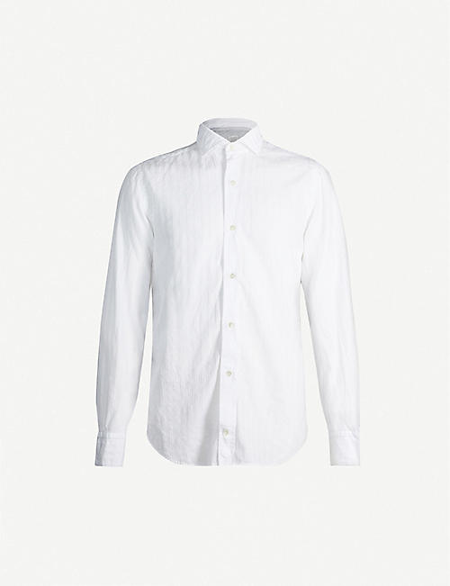 ELEVENTY Striped regular-fit cotton-blend shirt