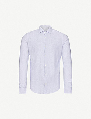 ELEVENTY Striped slim-fit cotton shirt