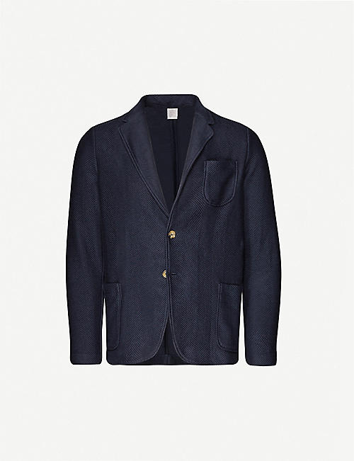 ELEVENTY Geometric-weave single-breasted cotton blazer